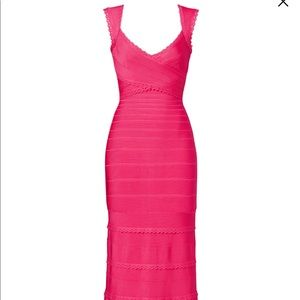 Herve Leger Hot Pink Long Gown Size Small